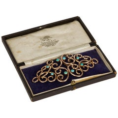 Thornhill & Co Turquoise Mounted 9-Carat Gold Belt Buckle, 1910