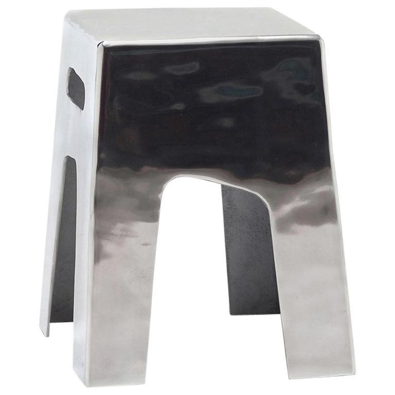 Alu Stool in Polished Aluminium Indoor Outdoor