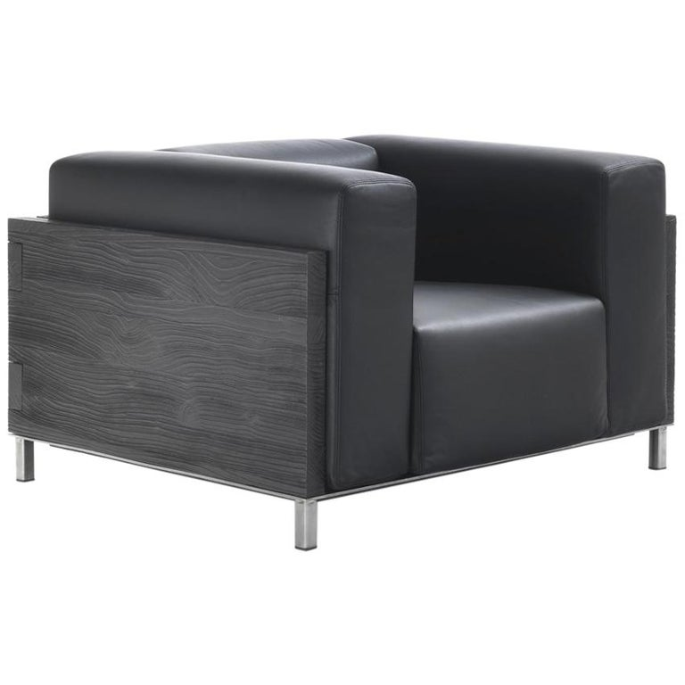 Burnt Cedar Square Armchair with Black Genuine Leather For Sale