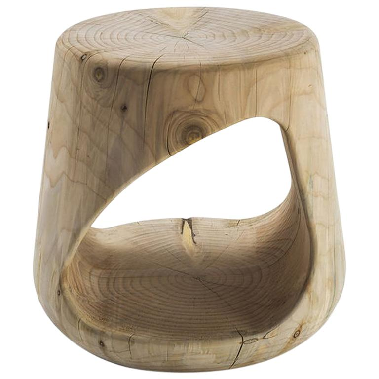 Cavity Stool in Solid Natural Cedar Wood For Sale