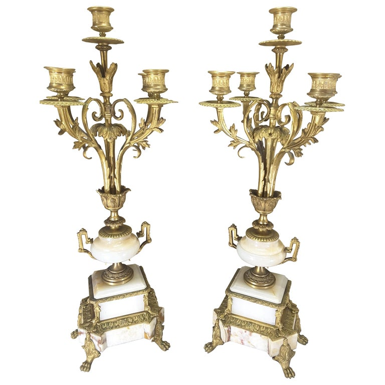 Fine Pair of 19th Century French Louis XVI Style Ormolu and Marble Candelabras For Sale