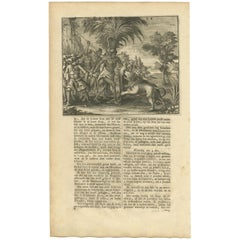 Antique Print of Lion Hunting by Valentijn, 1726
