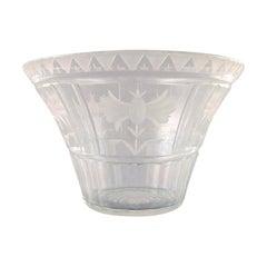 Simon Gate for Orrefors, Art Deco Bowl in Satin-Cut Clear Art Glass, circa 1920s
