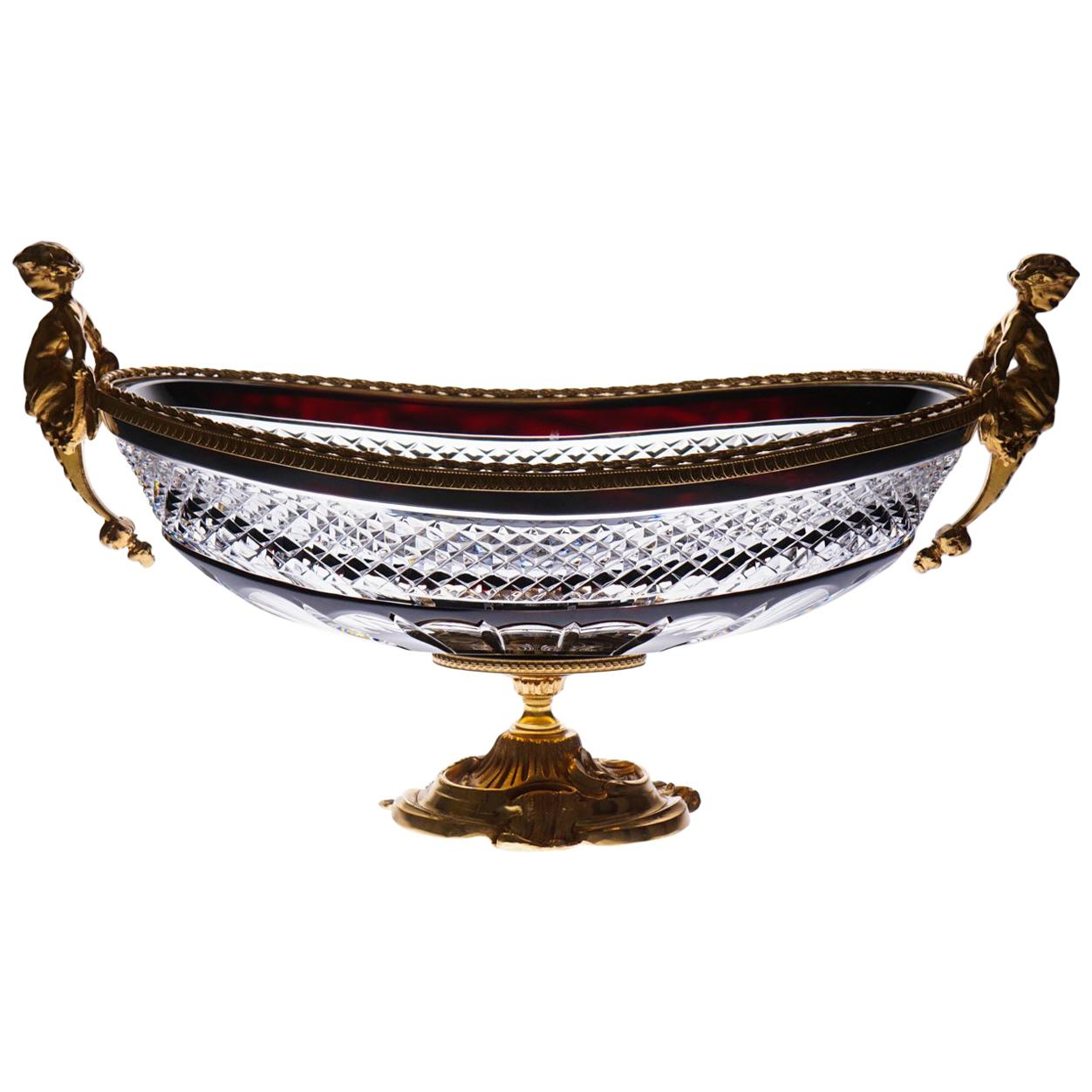 Dark Red Rrystal Jardinière with Bronze Covered 22-Carat Gold, Angel Detail