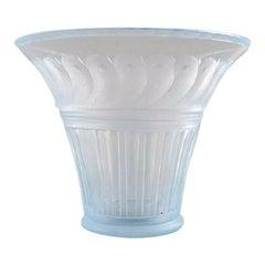 Simon Gate for Orrefors, Art Deco Vase in Satin-Cut Light Blue Art Glass, 1927