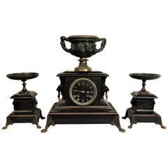 Napoleon III Fireplace Set with Bronze Greek Gods and Black Marble
