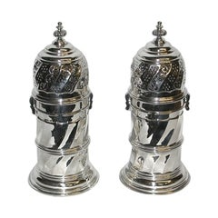 Pair of Lighthouse Shaped Silver Sugar Casters, 1914
