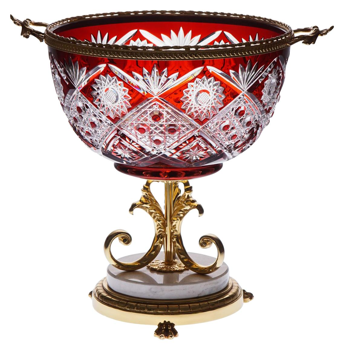 Red Crystal Vase with Bronze Gold Covered and Marble