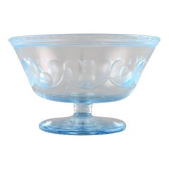 Simon Gate for Orrefors, Art Deco Bowl on Foot in Satin-Cut Light Blue Art Glass