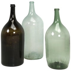 Antique French Demijohn Bottles Set of 3, Brown, Light Blue and Green