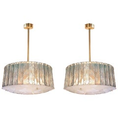 Pair of Mid-Century Modern Light Green Glass & Brass Chandeliers Gio Ponti Style