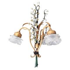 Vintage French Floral Tole Chandelier