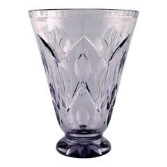 Simon Gate for Orrefors, Art Deco Vase Satin-Cut Light Purple Artificial Glass
