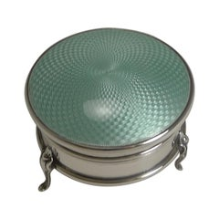 English Sterling Silver and Guilloche Enamel Jewelry / Ring Box