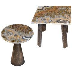 Modern  Onyx Coffee Side Tables handmade Bronze Metal Texturized Base