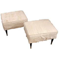 Bespoke Stools White Fur Black Lacquered Legs and Bronze Endings, 1950s Style