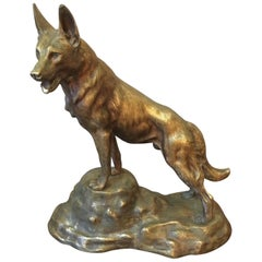 20th Century, French Gilded Bronze Dog, 1940s