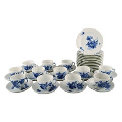 12 Person Coffee Service Royal Copenhagen Blue Flower Curved