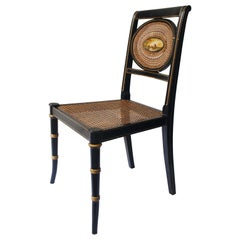 Regency Black Lacquered and Caned Hand Painted English Chair, late 19th century