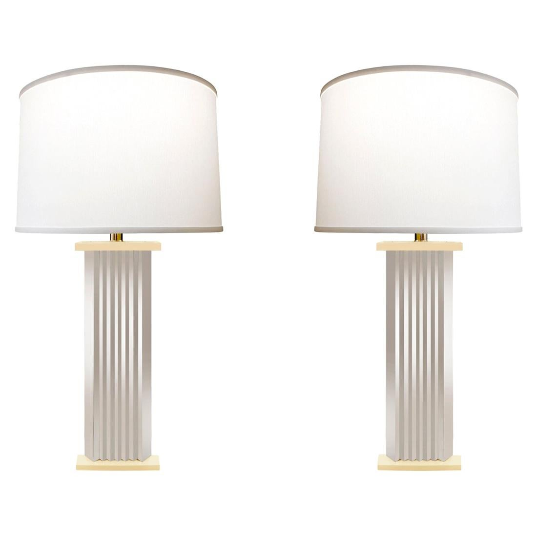 Pair of Large Chrome Skyscraper Table Lamps, 1970s