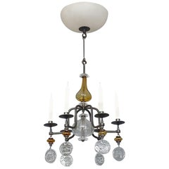 Unique Erik Hoglund Chandelier Electrified Amber Clear Glass Iron Boda Nova 1960