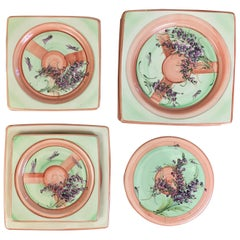 Vintage Tableware Set in Vallauris Provençal Orange, Green and Purple