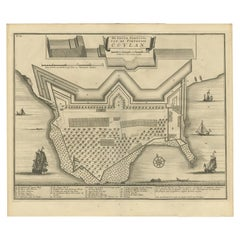 Antique Print of the Fort at Kollam 'India' by Valentijn, 1726