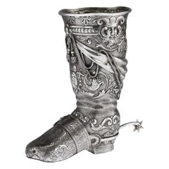 Antique 19th Century Victorian Solid Silver Novelty Boot Cup, London, circa 1886