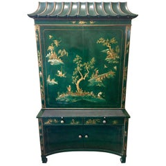 Emerald Green Lacquer Hand Painted Chinoiserie Secretary Desk China Cabinet