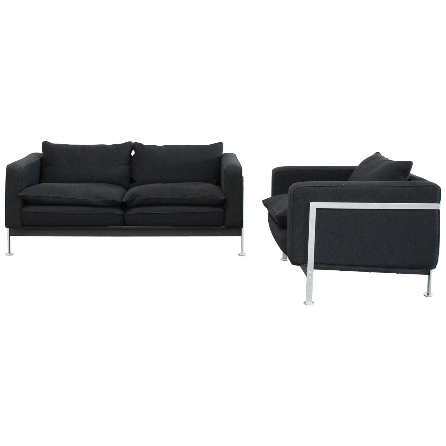 Robert Haussmann De Sede Rh 302 Sofa and Armchair Black