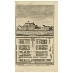 Antique Print of the Governor's House in Colombo by Valentijn, 1726