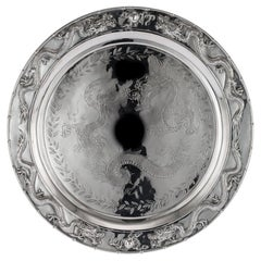 Antique Chinese Solid Silver Salver Tray, Cum Wo, Hong Kong, circa 1890