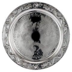 Antique Chinese Solid Silver Salver Tray, Cum Wo, Hong Kong, circa 1890