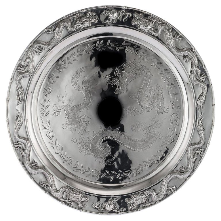 Antique Chinese Solid Silver Salver Tray, Cum Wo, Hong Kong, circa 1890 For Sale