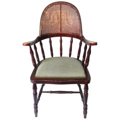 Antique Uncommon English Windsor Stick Back Caned Chair, Late 19th Century