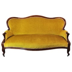 Louis XV Style Bench Mahogany and Yellow Velvet Louis-Philippe Period circa 1840