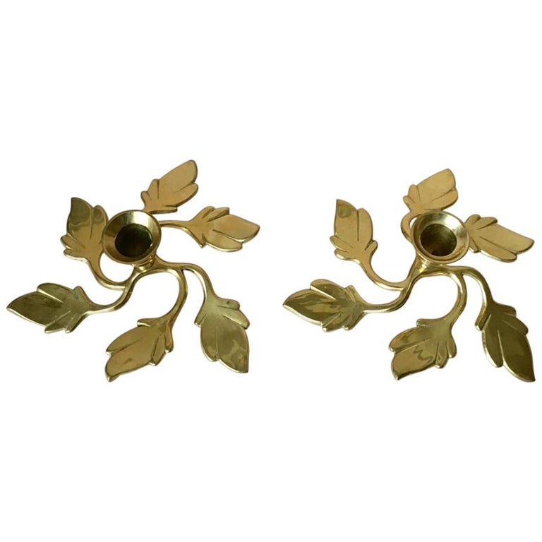 Pair of Two Vintage Swedish Brass Leaves Candleholders, 1970s For Sale