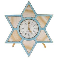Antique French Cartier Judaica Silver-Gilt, Enamel and Agate Clock, circa 1920