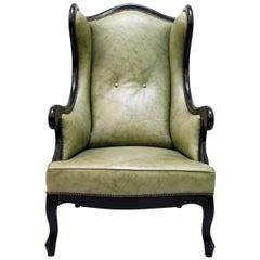 Chippendale Ledersessel Antik Vintage Englisch Sessel Ohrensessel