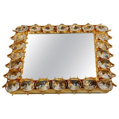 Illuminated Square Crystall Wall Mirror Designed, Ernst Palme by Palwa, Germany