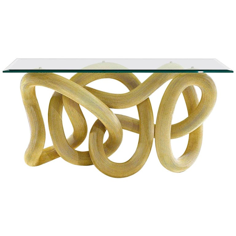 Console Table in Brass Wire, Flux by Jake Phipps For Sale