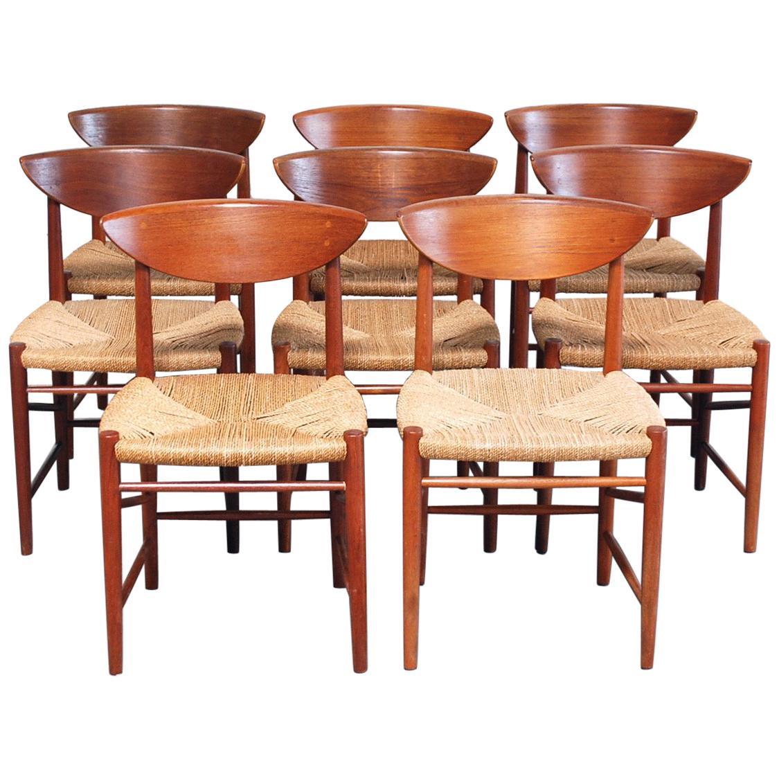 Peter Hvidt and Orla Mølgaard Nielsen 8 Teak Dining Chairs Model 316 for Soborg