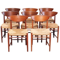 Peter Hvidt and Orla Mølgaard Nielsen 8 Teak Dining Chairs Model 316 for Soborg