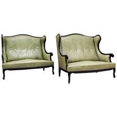 Chippendale Sofa Leather Antique Vintage Couch English Leather Sofa Alt
