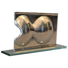 Abstract Chrome and Glass Table Sculpture