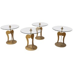 20th Century Italian Design Golden Iron and Glass Top Set of Four Side Table