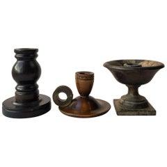 Set of Three Antique Swedish Wooden Candleholders, 1900s