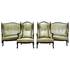 Chippendale Sofa Leather Antique Vintage Couch English Armchair Old