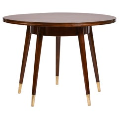Circular Sunburst Table with Five Legs and Brass Sabots