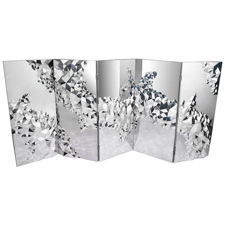 "Geometric Screen in Mirror Polished Steel, ""Stellar"" by Jake Phipps For Sale"